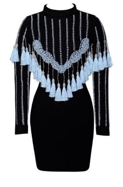 Véronique Blue Long Sleeve Tassel Dress