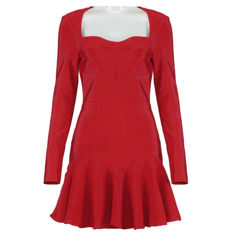 Isabella Red Long Sleeve Mini Dress