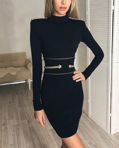 black long sleeve mini dress