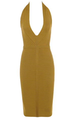 Saoirse Yellow Halter Backless Bandage Dress