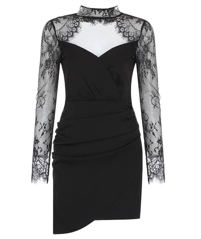 Nattie Mini Lace Long Sleeve Black Dress