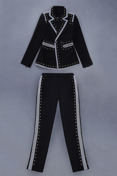 Aidan Luxury Black Two Piece Beading Suit