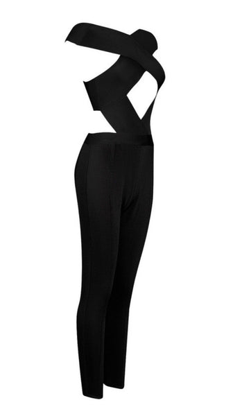 Luisa Crossover Front Bandage Jumpsuit- Black