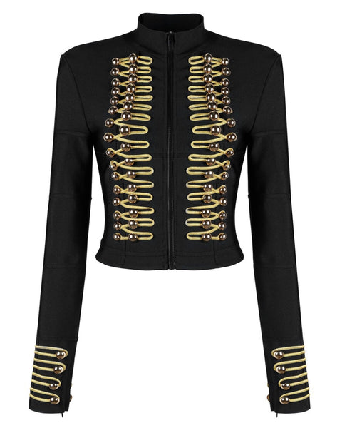 Sofiya Black Gold Military Bandage Jacket