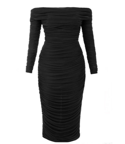 Paislee Off Shoulder Long Sleeve Black Mesh Midi Dress