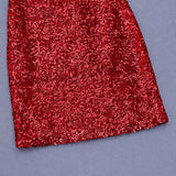 Elina Red Mini Sequins Dress