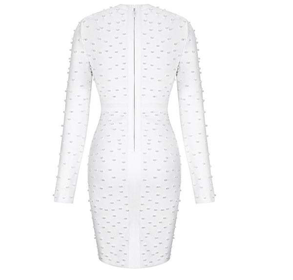 Ailani Pearl Detail Long Sleeve Bandage Dress - White