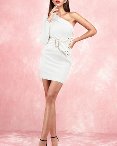 Sascha White One Sleeve Mini Dress with Belt
