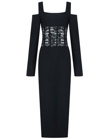 Lexi Black Long Sleeve Lace Insert Midi Dress