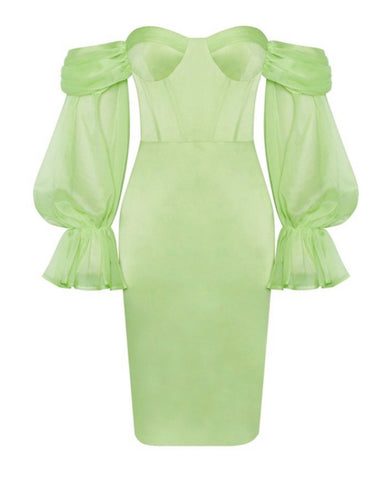 Claire Mesh Puff Sleeve Bustier Midi Satin Dress- Green