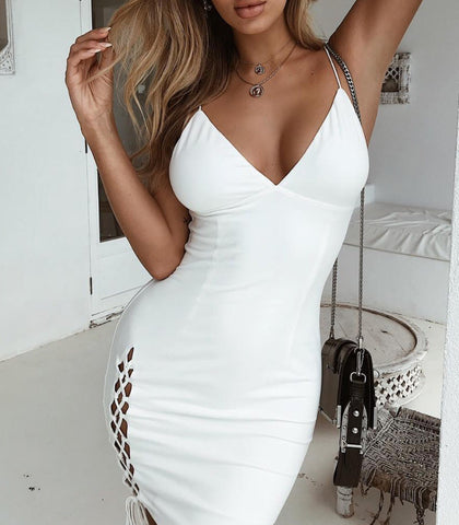 Muriel White Spaghetti Strap Bandage Dress
