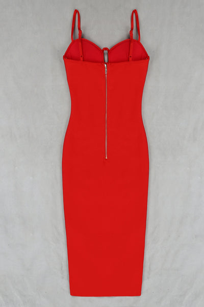 Fabiane Red Bustier Bandage Dress
