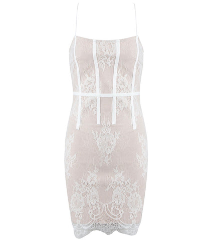Abril Beige White Mini Lace Dress