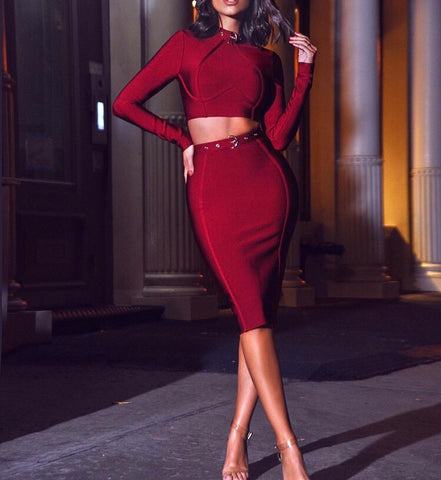 Dominika Red Mini Two Piece Bandage Dress