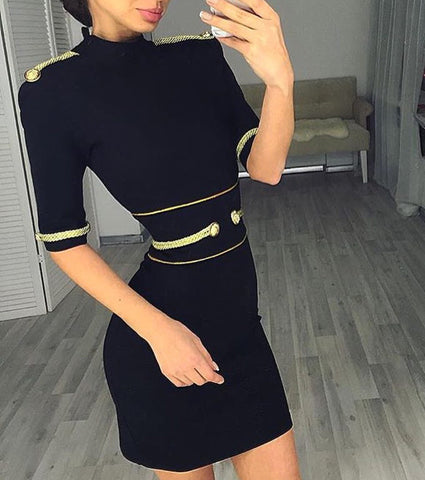 Trieste Black Short Sleeve Party Bandage Dress