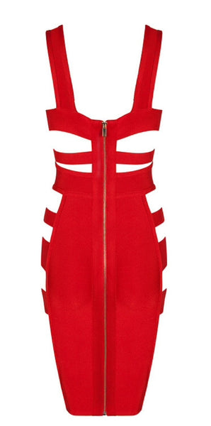 Demi Red Side Slash Bandage Dress
