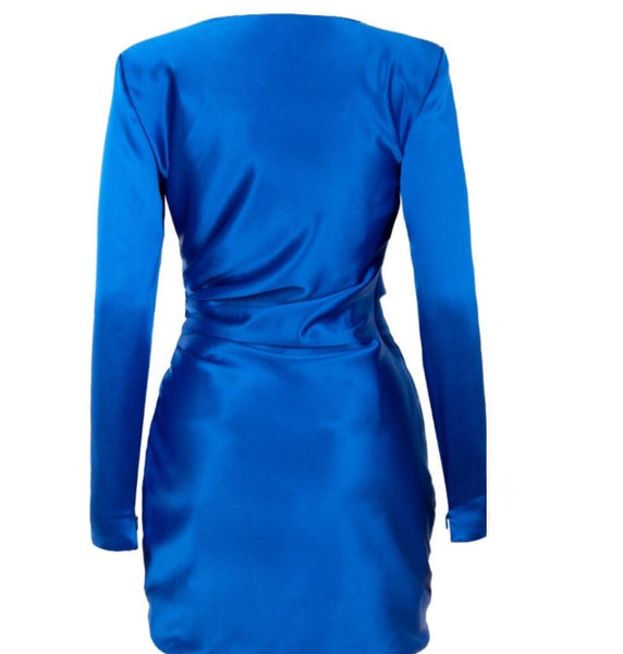 Hadley Blue Long Sleeve Party Mini Dress