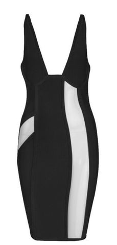Jihan Black Mesh Bandage Dress