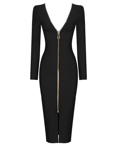 Shannon Black Open Back Long Sleeve Midi Dress