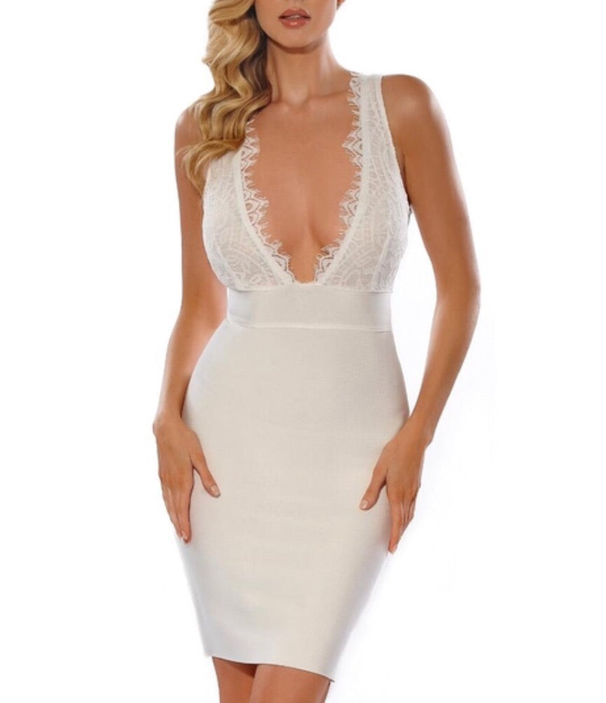 Matty White V-Neck Lace Bandage Dress