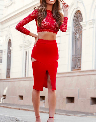 Honoria Red Lace Two Piece Bandage Dress