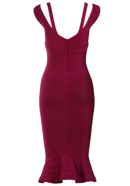 Neha Red Fishtail Bandage Dress