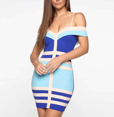 Katalina Blue Off Shoulder Strap Bandage Dress