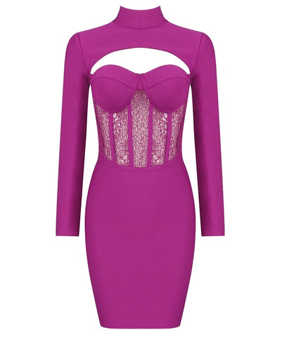 Charlie Ruby Pink Long Sleeve Mini Bandage Dress with Lace Details