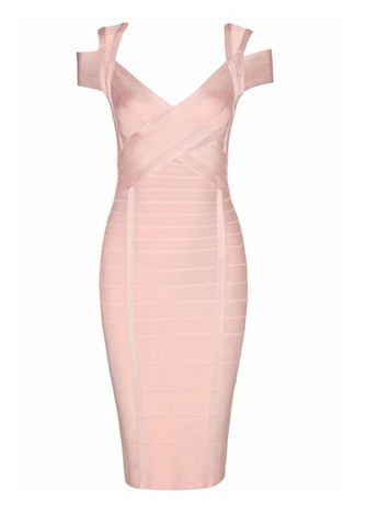 Corrine Pink Cut Out Shoulder Bandage Dress