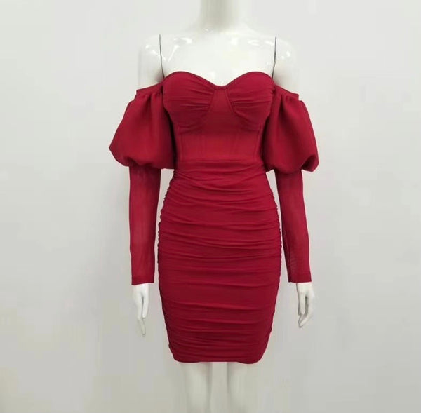 Skylar Red Long Sleeve Mini Dress