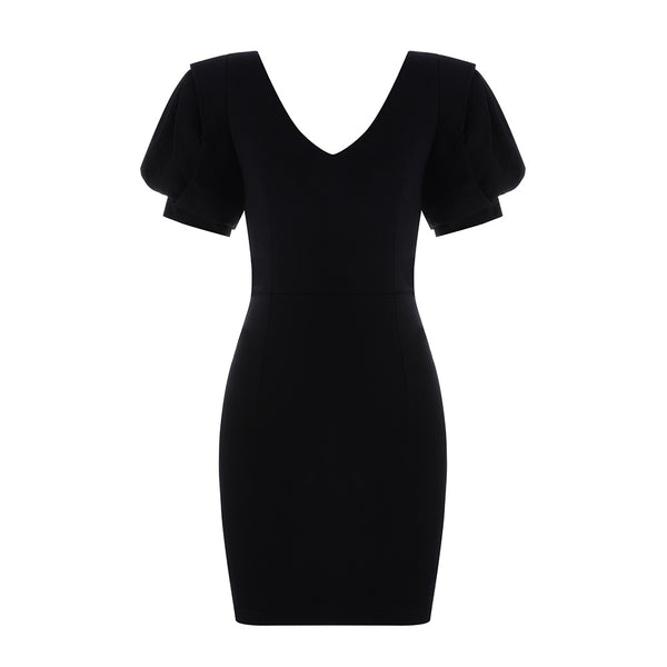 Vitória Black Puff Sleeve Mini Dress