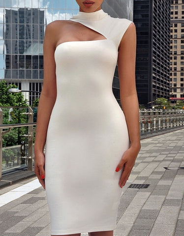 Helena White Asymmetric Bandage Dress