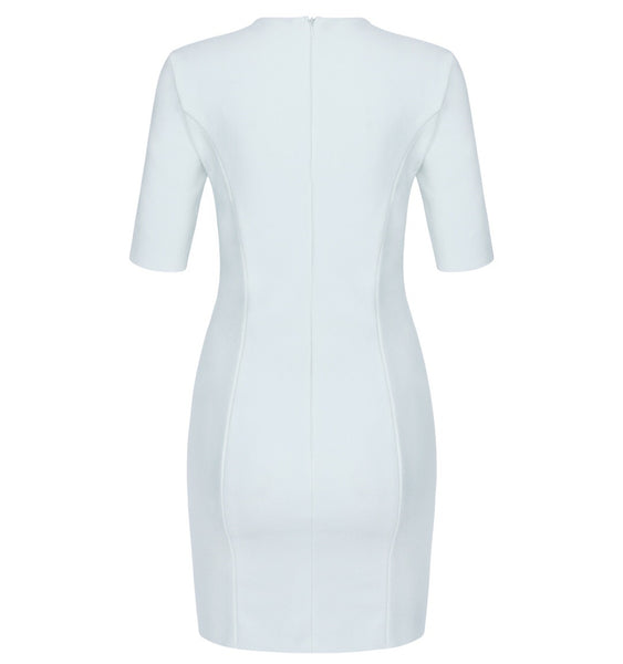 Rosie V Neck Short Sleeve Mini Dress - White