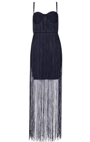 Maia Black Fringe Dress