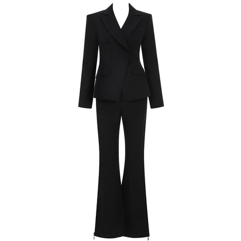 Phoebie Formal Black Two Piece Suit Set