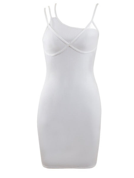 Layla White Mini Sleeveless Bandage Dress