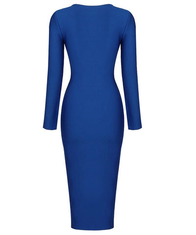 Shannon Blue Open Back Long Sleeve Midi Dress