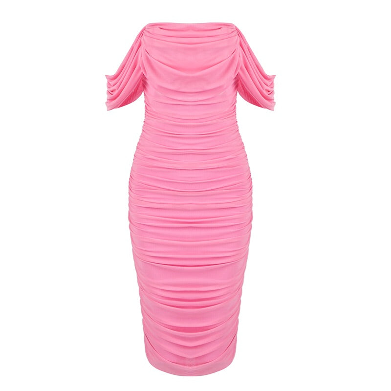 Nicoline Sexy Off Shoulder Midi Dress- Pink