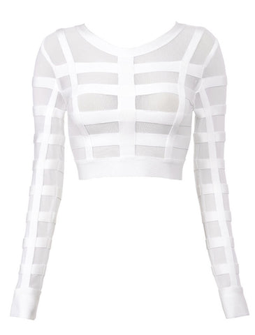 Niki White Mesh Cropped Top