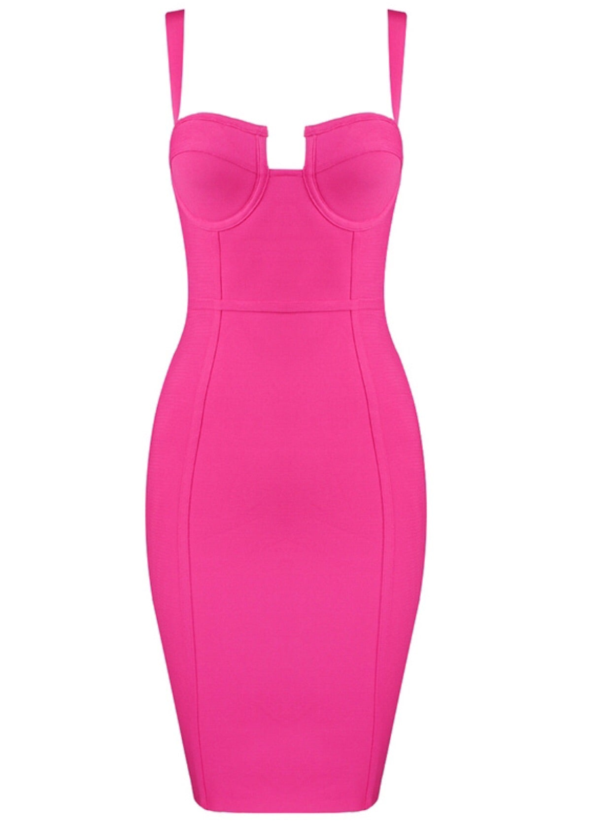 Alivia Short Spaghetti Strap Bandage Dress- Hot Pink