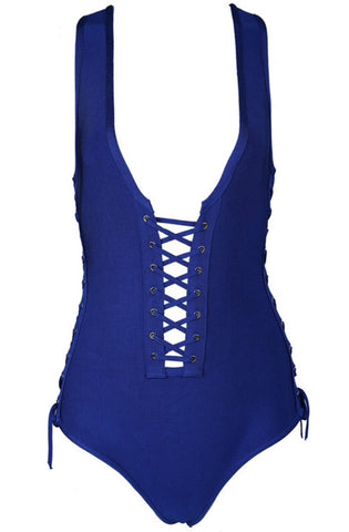 Octavia Blue Lace Up One Piece Swimsuit