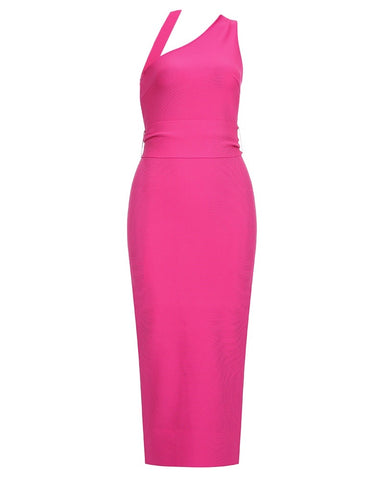 Tatum One Shoulder Halter Pink Bandage Dress