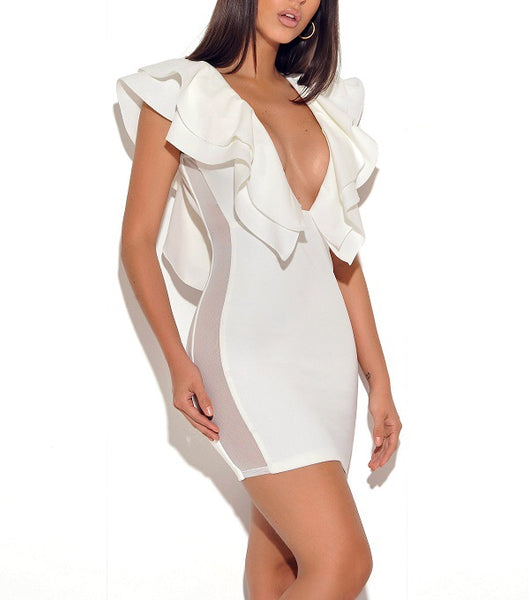 Coraline White V Neck Mini Party Dress with Open Back