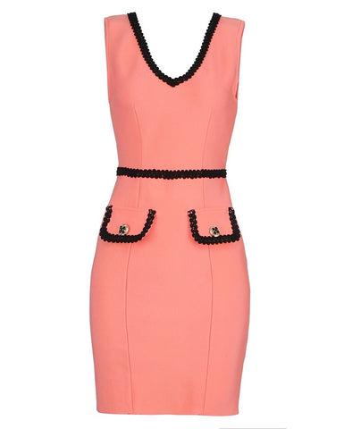 Genesis Coral Sleeveless Mini Dress with Crochet Trim
