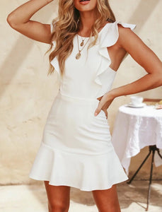 Caitlyn Mini Sleeveless Party Bandage Dress- White