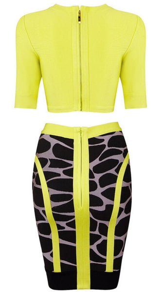 Allison Lime Green Two Piece Dress