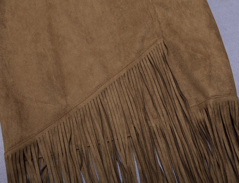 Shea Tan Fringed Skirt