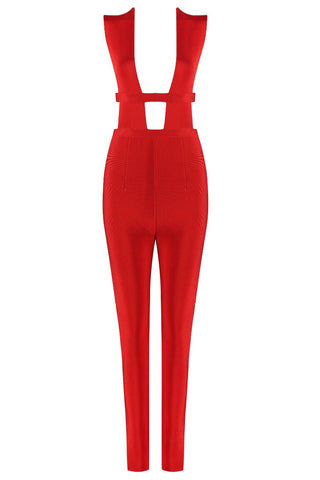 Rouba Red Bandage Jumpsuit