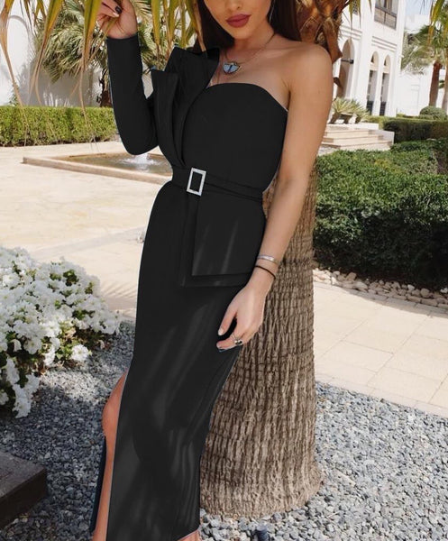 Kaylin One Sleeve Black Asymmetrical Slit Over Knee Dress