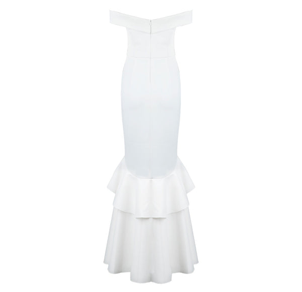 Edna White Mermaid Hem Midi Dress